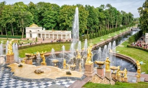 Петергоф, Большой дворец, фонтаны, Нижний парк на автобусе